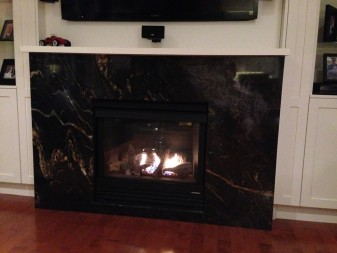 Titanium granite fireplace