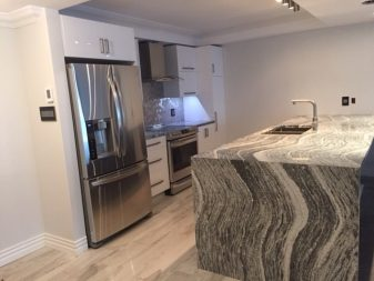Quartz Roxwell counters with waterfall edge on island