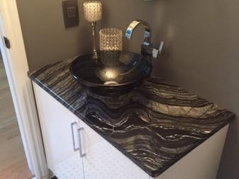 Silver Wave Vanity top with Carrara Marble basketweave Mosaic floor supplies by Select Ceramic Tile