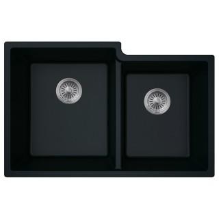 B303 Virtuo Granite Pearl Black Double Offset Bowl_Bristol Sinks_Bella_Marble